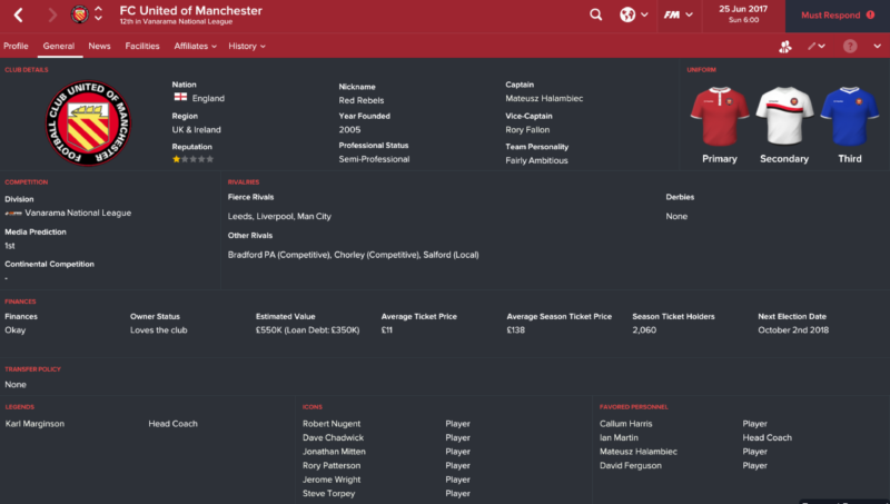 Football manager story FC United club profile