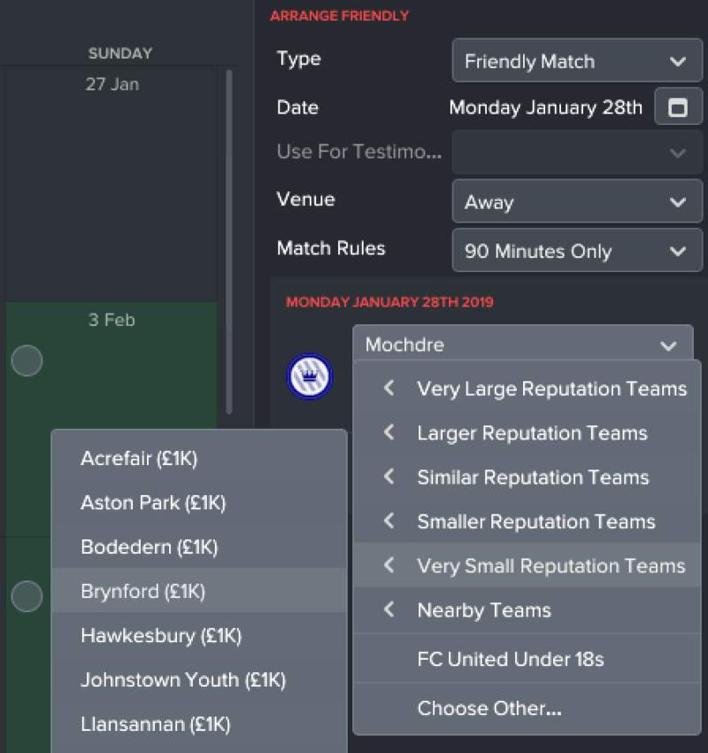 Organize match friendly Football Manager
